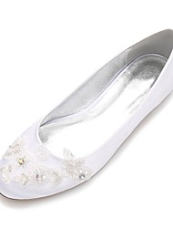 Mujer Zapatos de boda Confort Bailarina Satén Primavera Verano Boda Vestido Fiesta y NochePedrería Aplique Cuentas Flor de Satén