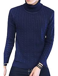 Men's Plus Size Korean Slim Turtleneck Knitted Sweaters Cotton Spandex
