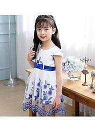 Menina de Vestido Floral Verão Algodão Manga Longa