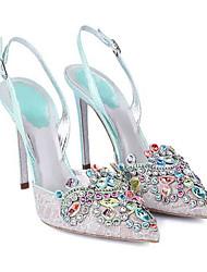 Women's Wedding Shoes Comfort Glitter Tulle Summer Wedding Casual Blue Green Fuchsia Black 3in-3 3/4in