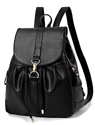 Women Bags Spring All Seasons PU Backpack with Ruffles for Event/Party Casual Formal Outdoor Office & Career Black Dark Blue Wine