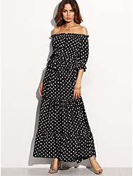 Women's Party Holiday Sheath Dress,Polka Dot Boat Neck Maxi 3/4 Length Sleeve Polyester All Seasons High Rise Micro-elastic Thin