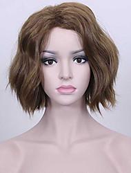 средняя длина коричневый цвет серебристый длинные волнистые волосы европейские синтетические парики для женщин парик