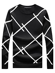 Men's Plus Size Casual Slim Big Plaid Sweatshirt Cotton Spandex