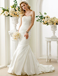 Mermaid / Trumpet Strapless Court Train Satin Wedding Dress with Beading Side-Draped by LAN TING BRIDE®
