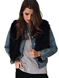 Feminino Casaco de Pêlo Casual Trabalho Bandagem Simples Vintage Moda de Rua Outono Inverno,Sólido Curto Pêlo de Coelho Pêlo Sintético