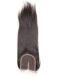 1 шт. 4x4 бразильские прямые волосы кружева ткать закрытие волосы необработанные remy волосы отбеленные узлы верхние затворы средняя часть