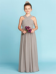 A-Line Princess V-neck Floor Length Chiffon Junior Bridesmaid Dress with Sash / Ribbon Criss Cross by LAN TING BRIDE®