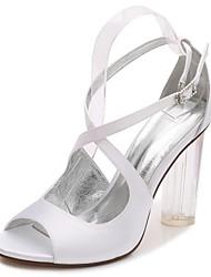 Mujer Zapatos de boda Pump Básico Tira en el Tobillo Zapato transparente Primavera Verano Satén Boda Vestido Fiesta y Noche Pedrería