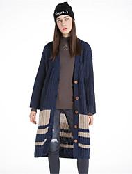 Mujer Largo Cardigan Casual/Diario Simple,Un Color Estampado Escote en Pico Manga Larga Lana Algodón Poliéster Otoño Invierno Grueso