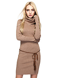 Women's Going out Casual/Daily Simple Street chic Sheath Sweater DressSolid Turtleneck Above Knee Long Sleeves Cotton Nylon Fall Winter
