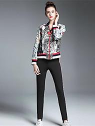 Feminino Jaqueta Para Noite Casual Simples Moda de Rua Outono Inverno,Sólido Estampado Curto Poliéster Decote Redondo Manga Longa