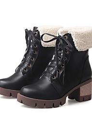 Women's Boots Fluff Lining Fashion Boots Winter Leatherette Casual Dress Lace-up Chunky Heel Almond Green Orange Black 2in-2 3/4in
