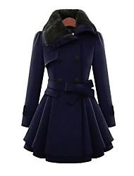 Для женщин На каждый день Осень Зима Пальто Воротник Питер Пен,Простой Однотонный Длинная Длинный рукав,Хлопок