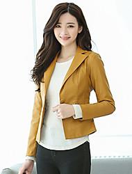 Для женщин На каждый день Офис Осень Зима Кожаные куртки Рубашечный воротник,Простой Однотонный Короткая Длинный рукав,Полиуретановая
