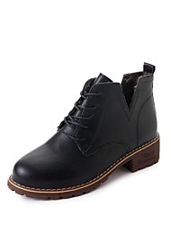 Women's Shoes PU Fall Comfort Boots Flat Heel Round Toe Lace-up For Dress Khaki Brown Black