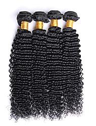 400g / 4 pedaços 10-26 polegadas de cabelo virgem brasileira natural preta e encaracolado crua cabelo humano crua tece