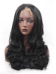Mujer Pelucas sintéticas Encaje Frontal Largo Ondulado Grande Negro Parte central de la costura Pelo de seda base Raya en medio Peluca