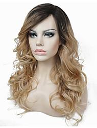 Mujer Pelucas sintéticas Monofilamento Largo Rizado Marrón Claro 100% kanekalon pelo Pelo Ombre Raíces oscuras Peluca natural Peluca de