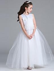 принцесса этаж длина цветок девушка платье - атласная сетка без рукавов жемчужина шеи с кружевом by baihe