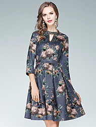 Women's Going out Casual/Daily Street chic A Line Dress,Floral Stand Above Knee 3/4 Length Sleeves Cotton Polyester Spandex Fall High Rise