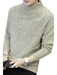Для мужчин На выход На каждый день Простое Очаровательный Уличный стиль Обычный Пуловер Однотонный С принтом Контрастных цветов,Хомут