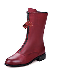 Women's Boots Motorcycle Boots Combat Boots Fall Winter Leatherette Casual Dress Zipper Tassel Chunky Heel Burgundy Gray Black 1in-1 3/4in