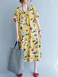 Feminino Solto Vestido,Tamanhos Grandes Vintage Floral Decote Redondo Médio Manga Curta Linho Outono Cintura Alta Sem Elasticidade Média