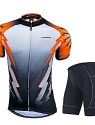 Nuckily Maillot et Cuissard de Cyclisme Homme Manches Courtes Vélo Ensemble de Vêtements Pare-vent Design Anatomique Perméabilité à