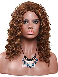 Mujer Pelucas sintéticas Sin Tapa Medio Rizado Rizos Jheri Marrón Claro Peluca de Halloween Peluca de carnaval Peluca de cosplay Peluca