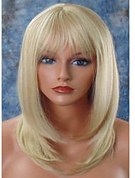 Mujer Pelucas sintéticas Sin Tapa Medio Liso Blonde Entradas Naturales Corte a capas Con flequillo Peluca natural Peluca de celebridades