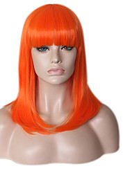 Women Synthetic Wigs Capless Medium Long Straight Orange African American Wig Natural Hairline Layered Haircut Party Wig Halloween Wig