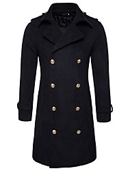 Men's Going out Casual/Daily Simple Street chic Fall Winter Pea Coat,Solid Shirt Collar Long Sleeve Long Nylon