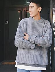 Standard Pullover Da uomo-Per uscire Tinta unita Girocollo Manica lunga Altro Primavera Inverno Medio spessore Media elasticità