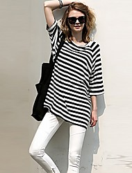 Women's Going out Casual/Daily Street chic Spring Summer T-shirt,Striped Round Neck Long Sleeves Cotton Medium