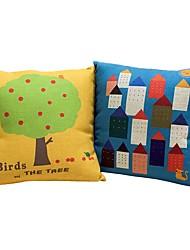 2 PC Algodón/Lino Almohada innovadora Funda de almohada Almohada de cama Almohada de cuerpo Almohada de viaje El amortiguador del sofá,