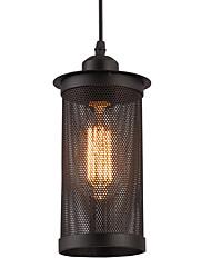 1 cabeza vendimia metal negro luces de colgante de malla país estilo mini candelabro para bares cocina comedor luminaria