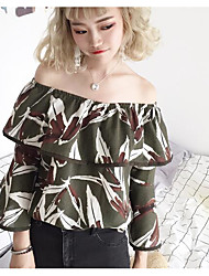Women's Casual/Daily Simple Blouse,Print Off Shoulder Long Sleeves Polyester
