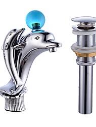 По центру Керамический клапан Одной ручкой одно отверстие for  Хром , Ванная раковина кран