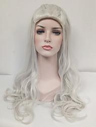 Mujer Pelucas sintéticas Sin Tapa Largo Ondulado Plata Peluca de cosplay Peluca de celebridades Pelucas para Disfraz