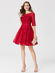 A-Line Princess Jewel Neck Short / Mini Lace Cocktail Party Dress with Appliques Sash / Ribbon by TS Couture®
