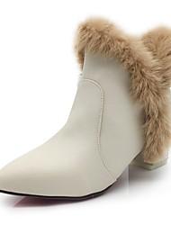 Для женщин Обувь Кожа / мех Дерматин Осень Зима Модная обувь Ботильоны Флисовая подкладка Ботинки Блочная пятка Заостренный носок Ботинки