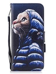 для чехлов крышка держатель карты кошелек с подставкой магнитный рисунок полный корпус корпус кошка твердая кожа pu для samsung galaxy s8