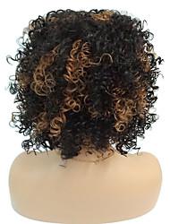 Mujer Pelucas sintéticas Sin Tapa Medio Rizado Negro / castaño medio Para mujeres de color Pelo reflectante/balayage Peluca natural