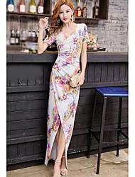 Для женщин На выход Оболочка Платье Цветочный принт,V-образный вырез Макси С короткими рукавами Полиэстер Лето Со стандартной талией