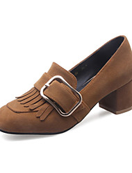 Damen Schuhe Vlies Herbst Komfort Neuheit Pumps High Heels Blockabsatz Runde Zehe Quaste Für Hochzeit Normal Schwarz Gelb Rot Grün