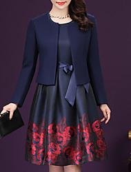 Mujer Vaina Vestido Fiesta Casual/Diario Trabajo Vintage Chic de Calle Sofisticado,Geométrico Escote Redondo Hasta la Rodilla Manga Larga