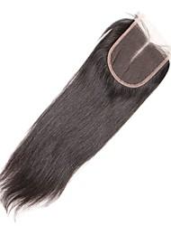 1 шт. 4x4 малайзийские прямые волосы кружева ткать закрытие волосы необработанные remy волосы отбеленные узлы верхние затворы средняя