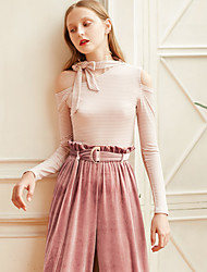 MASKED QUEEN Women's Going out Casual/Daily Simple Cute Spring Fall T-shirtStriped One Shoulder Long Sleeves Cotton Medium