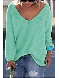 Для женщин На выход На каждый день Простое Обычный Пуловер Однотонный,V-образный вырез Длинный рукав Акрил Осень Средняя Слабоэластичная
